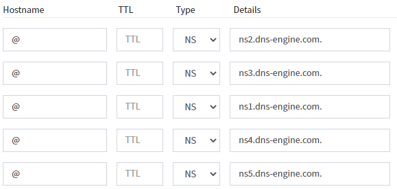 My-Engine portal - masterdns all ns servers as records