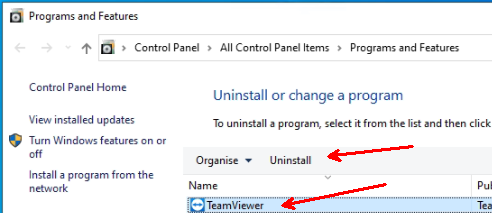 teamviewer win10 control panel uninstall