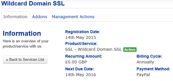 Details of your wildcard Domain SSL