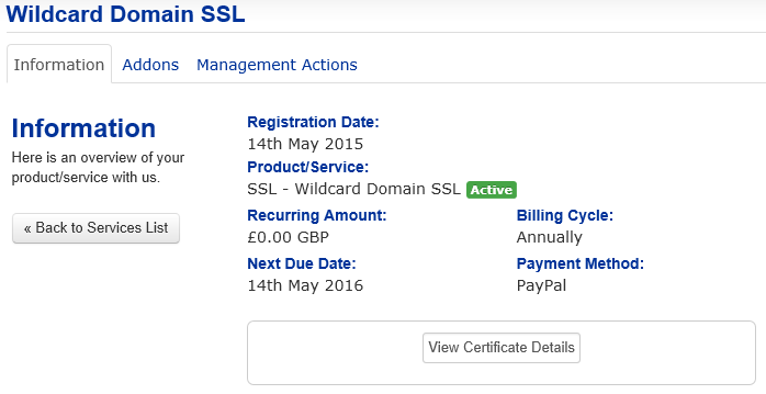 Getting your Wildcard SSL Certificate Details