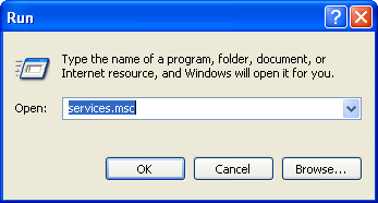 Run services.msc from Windows XP to stop the Help & Support service exploit